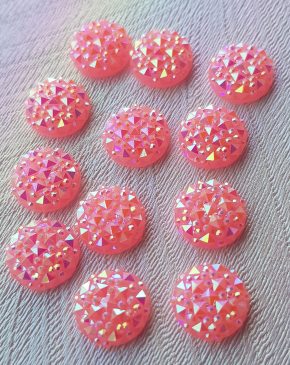 12mm Pink Sparkle Resin Cabochon