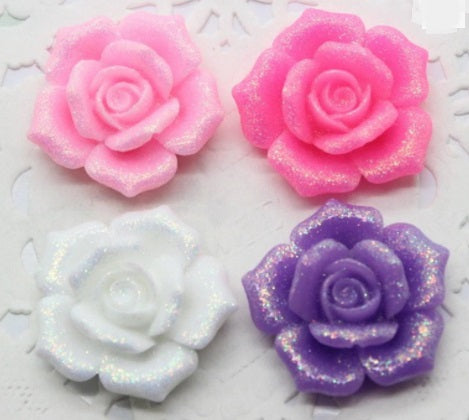 Large Glitter Rose Flower Flatback