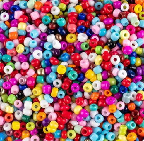 Mixed Colour Pack of 500 Glass Seed Beads, 2mm