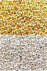 Gold or Silver, 3mm Spacer Ball Beads, jewellery making, craft beads,