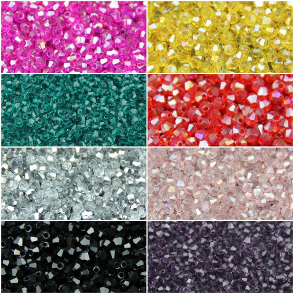 Packs of 200 x 3mm Glass Bicone Beads