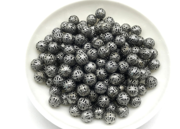 4mm Gun Metal Black Filigree Spacer Beads