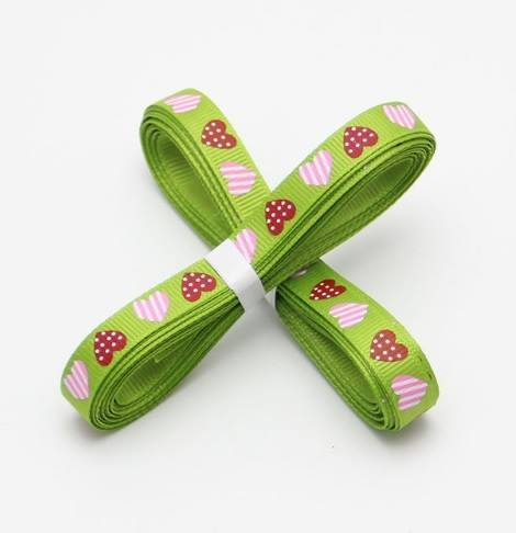 5 yards of Green Heart Grosgrain Ribbon 10mm