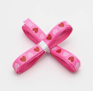 5 yards of Pink Heart Grosgrain Ribbon 10mm