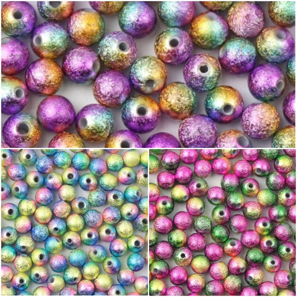 Rainbow Stardust Beads, 6mm