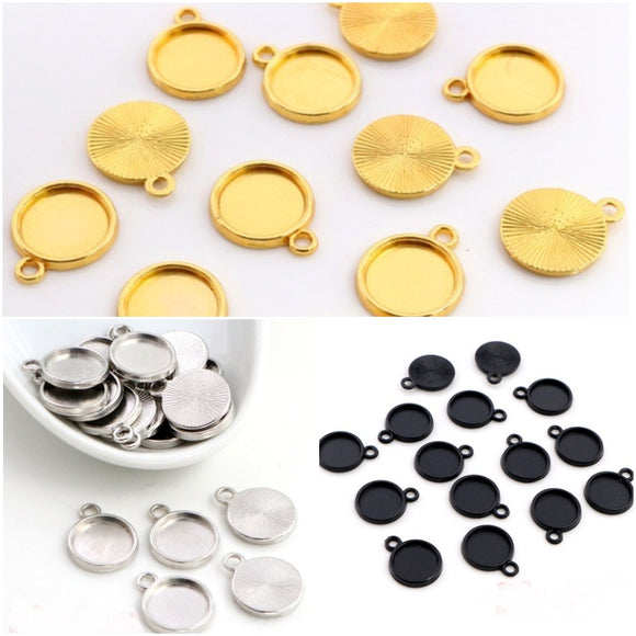 8mm Cabochon Setting in Black, Silver and Gold
