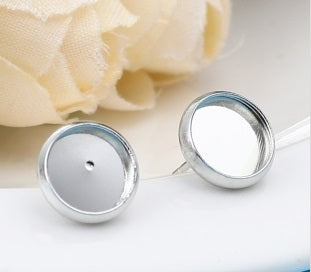Silver Cabochon Earrings Stud Settings in 8mm, 10mm and 12mm