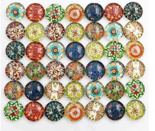 8mm Totem Floral Handmade Glass Cabochons