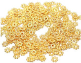 Daisy Flower 4mm Spacer Beads - Gold Plated