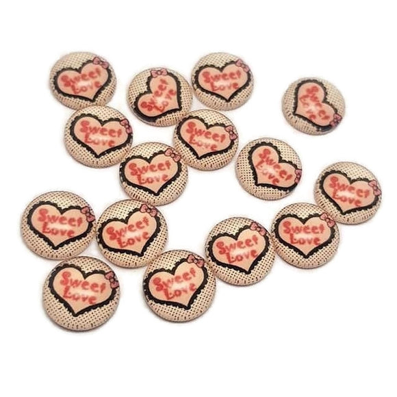 Sweet Love Heart Glass Cabochons 12mm