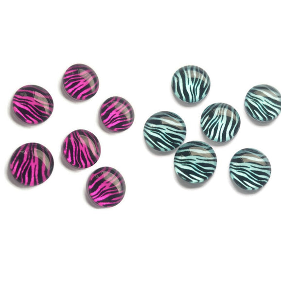 10mm Pink or Blue Zebra Print Glass Cabochons
