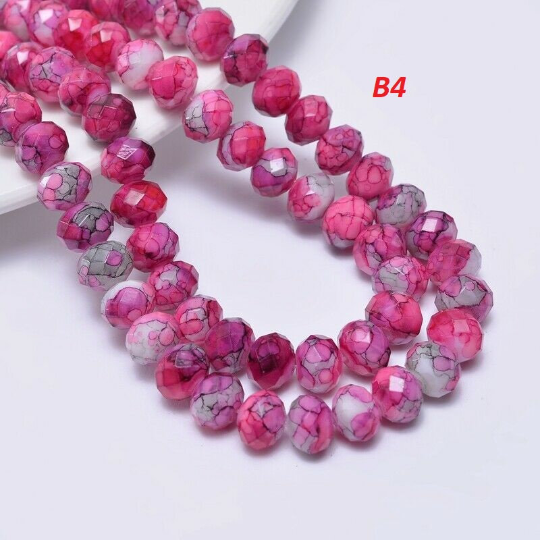 Pink Mix Rondelle Beads, 8mm , Unique Beads, B4