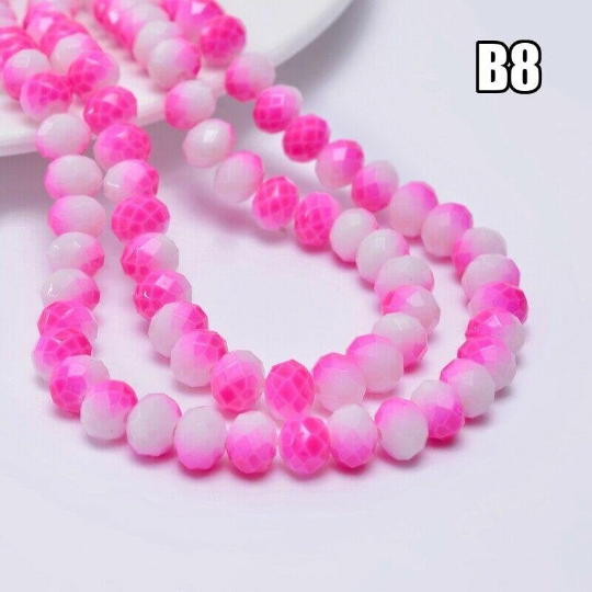 Pink and White Mix Rondelle Beads, 8mm , Unique Beads, B8