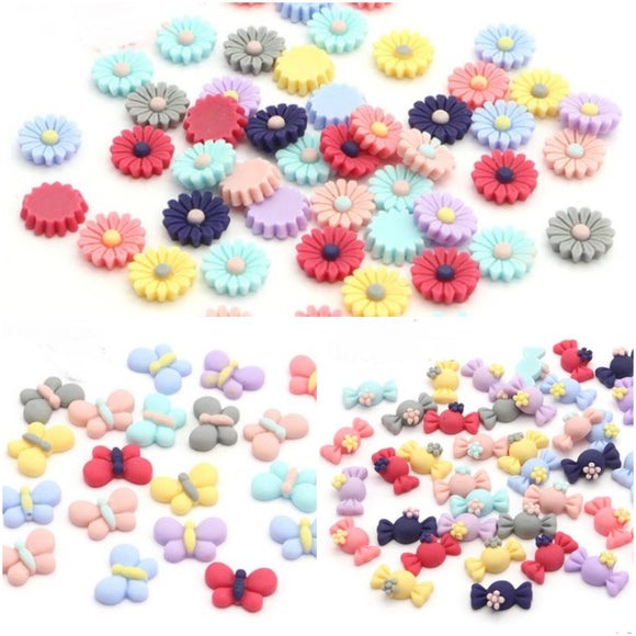 Resin Cabochons - Butterflies, Candy Sweets and Flowers