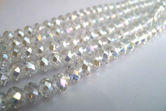 Clear AB Rondelle Glass Beads 4mm