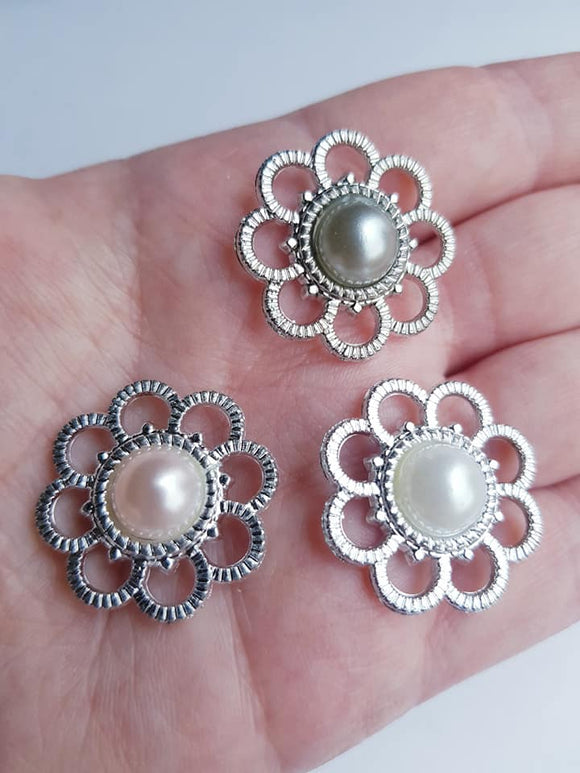 Acrylic Pearl Cabochon Flatbacks, 35mm, Wedding, Buttons,