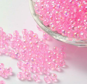 Acrylic Pink  Bubble Beads - 8mm