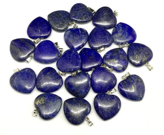 Afghanistan Natural Lapis Lazuli Heart Pendants Size 20mm, healing jewellery,