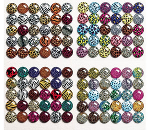 8mm Glass Animal Print Cabochons Ref 8-14