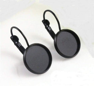 Black Cabochon Earring Settings, 12mm,