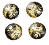 12mm Gold and Black Floral Glass Cabochons - Yin Yang