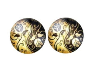 12mm Gold and Black Floral Glass Cabochons