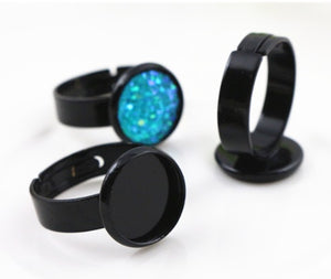 Basic Black Solid Band Cabochon Ring Blank - 12mm