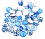 12mm Blue and White Glass Cabochons