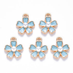 Gold Plated Sky Blue Flower Pearl Charm