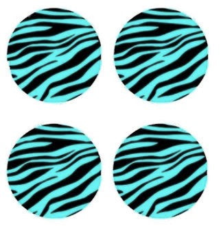 Blue and Black12mm Zebra Print Glass Cabochons