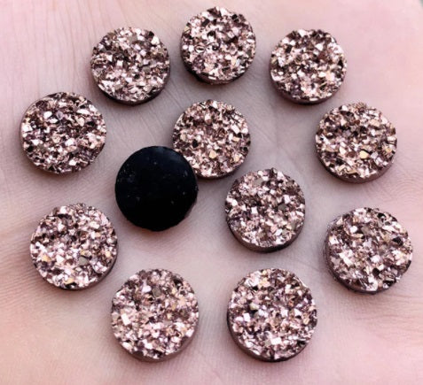 Bronze Resin Druzy Flatbacks - Size 12mm