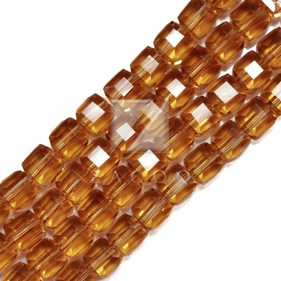 Dark Champagne Crystal Cube 4mm Beads