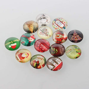 Christmas Theme Glass Cabochon 10mm, 12mm,