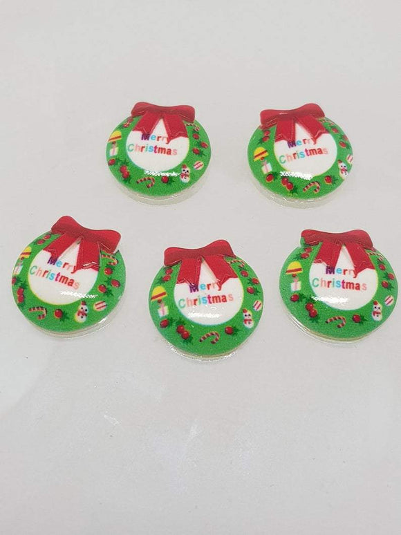 Christmas Wreath. Resin Christmas Cabochon Shapes