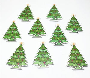Wooden Christmas Tree Buttons