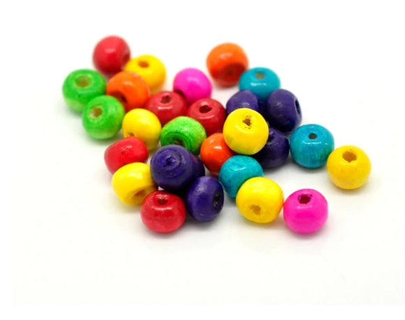 Mixed Colour Wooden Beads, 6mm