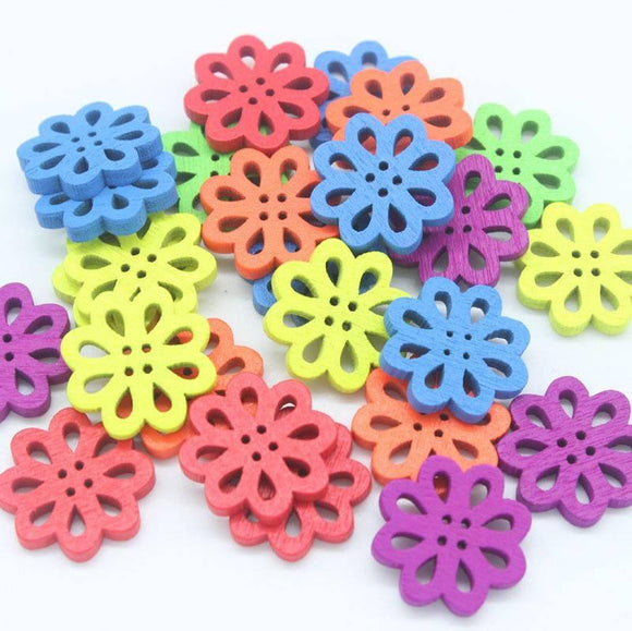 Colourful Wooden Flower Buttons/Shapes