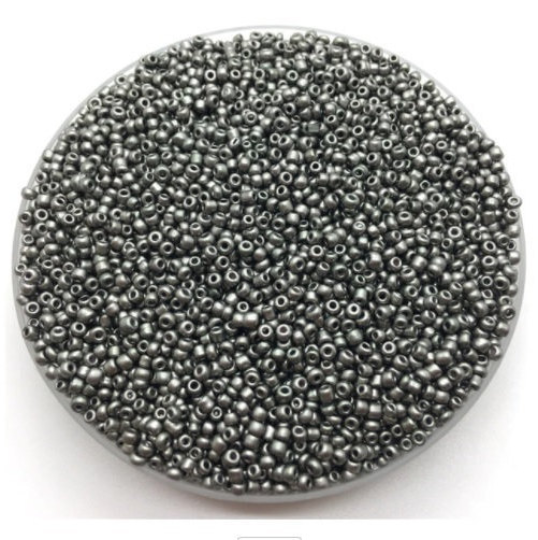 Silver Grey Glass Seed Beads, 2mm