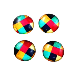 12mm Glass Checked Cabochon Flatbacks