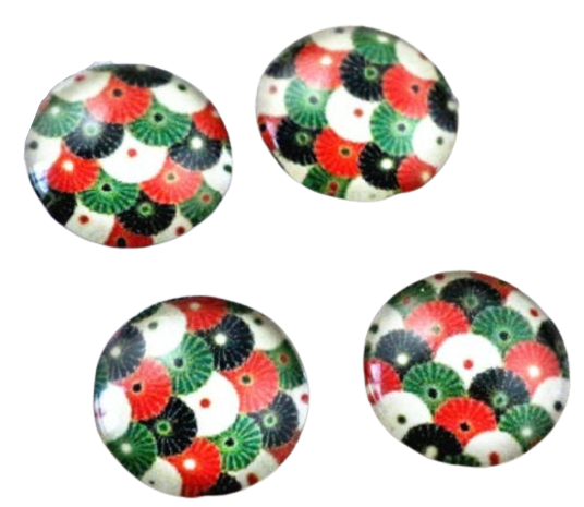 12mm Glass Multi Colour Cabochon Flatbacks