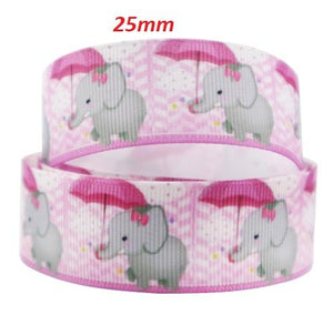 Elephant Print Grosgrain Ribbon