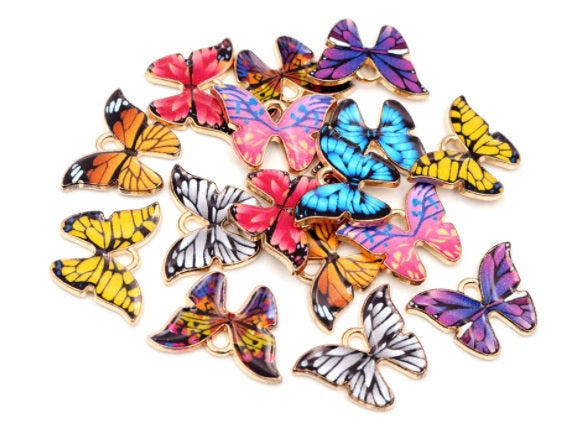 Gold Plated Butterfly Enamel Charms