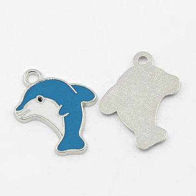 Silver Enamel Dolphin Charms