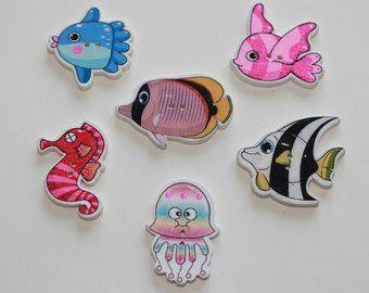 Fish Buttons, Fish Shapes, Wooden,