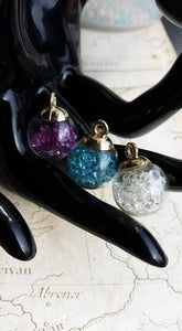 Glass Mini Snow Globe Charms, Gold Loops Blue, Clear or Purple  Nuggets