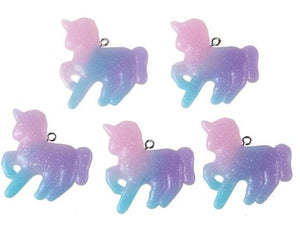 Glitter Resin Unicorn Pendant,