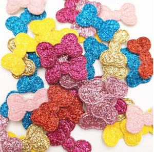 25 Mixed Glitter Bow Patches
