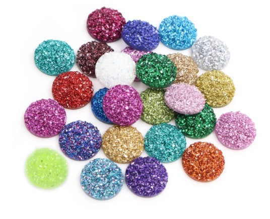 Mixed Glitter Resin Cabochons - Size 10mm