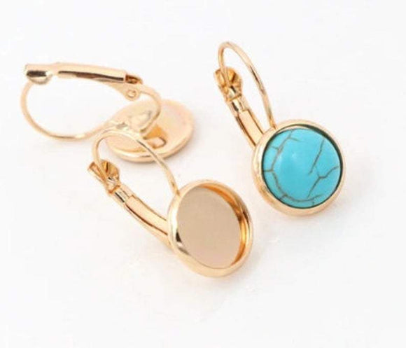 Gold Plated Cabochon Earring Settings, 10mm,