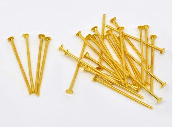 Gold Head Pins, 28mm, 30mm, 32mm, 35mm and 40mm